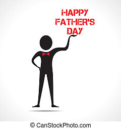 Man holding happy father's day text vector