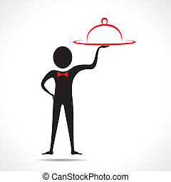 man with platter  -  man with platter stock vector