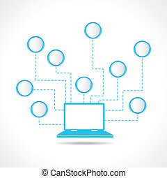 laptop with message bubble stock vector
