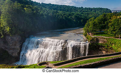 Morning view of Middle Falls, at Letchworth State Park, New York.