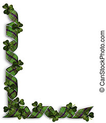 St Patricks Day Shamrocks Border - 3D Illustration for St...