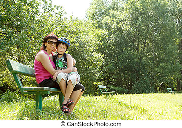 Mother and her son outdoor