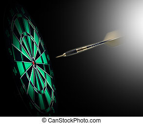 Shot of darts in bullseye on dartboard