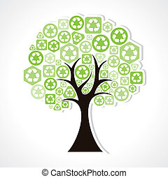 recycle icons forming a tree - Green recycle icons forming a...
