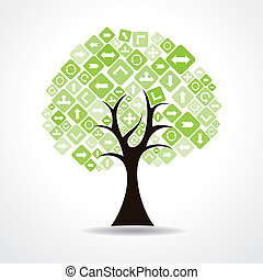 tree with green arrow icons