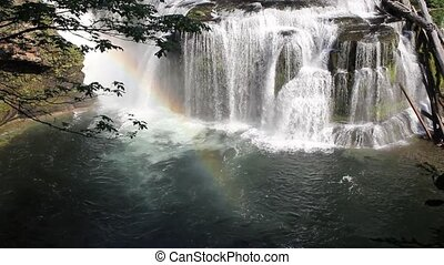 Lower Lewis River Falls and Rainbow in Skamania County...