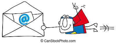 Emailing - Superman with an email envelope