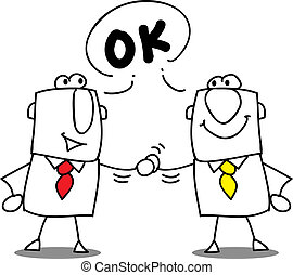 it's ok - two businessmen shaking hands.