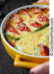 tomate, queijo, ASSADO, abobrinha