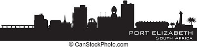 Port Elizabeth South Africa skyline Detailed vector...