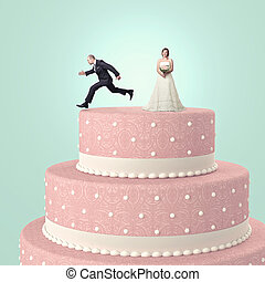fun at wedding - funny wedding cake with goom and bride