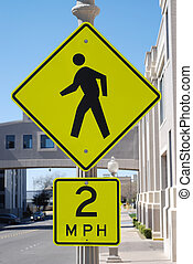 Two miles per hour speed sign - Hospital zone sign...