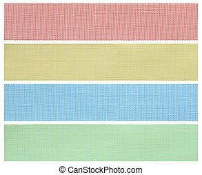 set of fabric swatch samples isolated on white