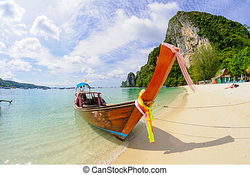 Tropical beach, traditional long tail boat, Poda Bay, Thailand