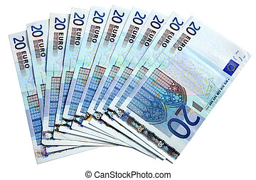 20 Euros notes fanned out on a white background.