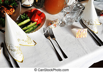 table with food and drink - gala reception. table with food...