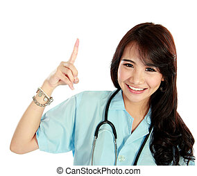 Happy young nurse with stethoscope and thinking - Portrait...