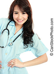 happy smiling asian nurse - close up portrait of happy young...