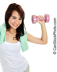 fitness woman with free weights - portrait of happy young...