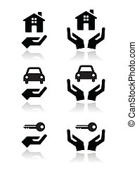 Home, car, keys with hands icons - Vector black icons set -...