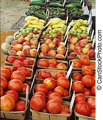 Baskets of Vegetables - Small basket of tomatoes and other...