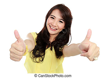 beauty teenager girl showing thumbs up - happy teenager girl...