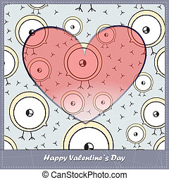 Valentine day card with birds