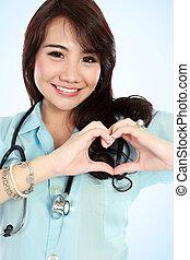 feliz, joven, Enfermera, corazón, forma, Manos