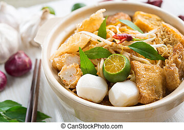 Hot and spicy Singapore Curry Noodle. A popular traditional...