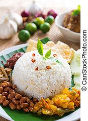 Malay food nasi lemak kukus - Nasi lemak traditional...