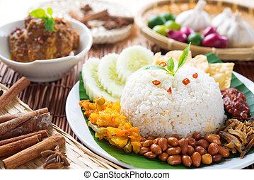 Malaysia food nasi lemak - Nasi lemak, popular Malaysian...