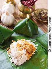 Nasi lemak Malay dish, popular traditional Malaysian food...