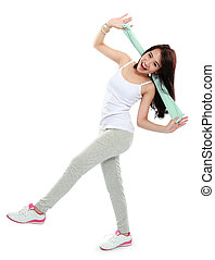 happy young asian woman doing exercise - portrait of happy...