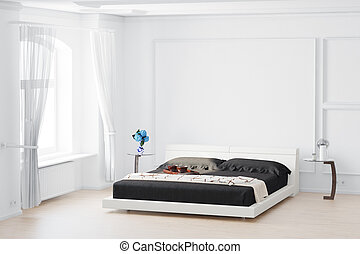 Beedroom with curtain and bed flowers on table