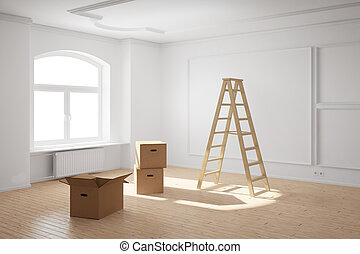 Empty room with ladder and cardboard boxes and hardwood...