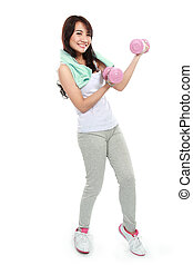 Woman exercising with free-weights isolated over white...