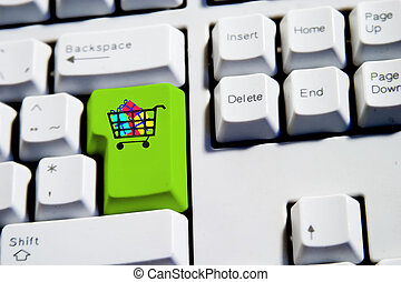 Shopping Cart - Shopping cart filled with presents on a...