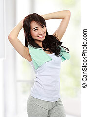 young sport woman - young asian sport woman doing stretching...