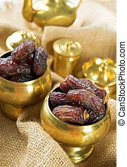 Dates Dried date palm fruits or kurma, ramadan food which...