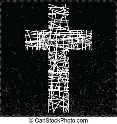 cross - White cross on black background