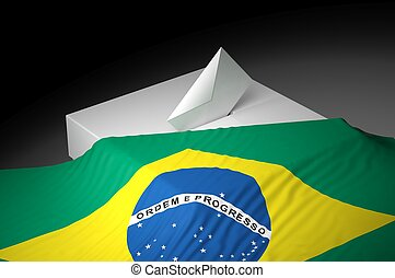 Ballot box with the flag of Brazil