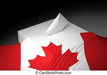 Ballot box with the flag of Canada