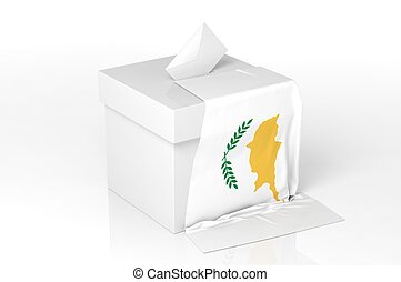 Ballot box with the flag of Cyprus