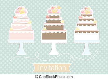 Invitation design with decorative cakes - Pretty pastel...
