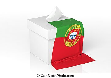 Ballot box with the flag of Portugal