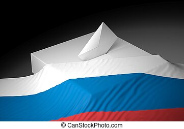 Ballot box with the flag of Russia