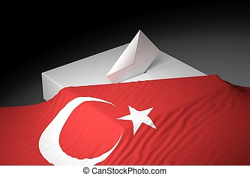 Ballot box with the flag of Turkey