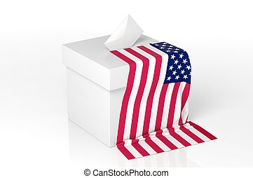 Ballot box with the flag of USA