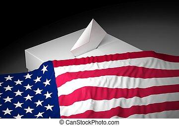 Ballot box with the flag of USA
