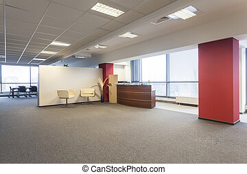 Reception - Spacious office interior and a reception lobby